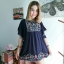เสื้อสปันผ้านิ่มอย่างดีค่ะใช้ผ้าเนื้อดีทำ ปักลายดอกไม้เล็กๆที่หน้าอกและชาย thumbnail 5