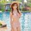 SM-V1-351 ชุดว่ายน้ำเอวสูง ลายดอกไม้สวยๆ สีชมพูอ่อน thumbnail 1