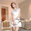 DR-LR-053 Lady Pure White Blossom Embroidery Gala Mini dress thumbnail 9