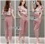 Lady Jennifer Floral Printed Top and Pink Ribbon Pants Set L260-7906 thumbnail 11