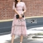 Lady Carly Feminine Pinky Striped Lace Maxi Dress L268-7902 thumbnail 2