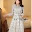 Lady Aliza Classic Vintage Plain Lace Dress with Belt L273-7909 thumbnail 13
