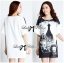 DR-LR-120 Lady Amy Indian Print Slouchy Dress in Black and White thumbnail 7