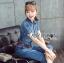 Lady Alison Sporty Elegant Embellished Denim Pantsuit wit Belt L199-95C07 thumbnail 6