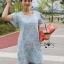 Lady Jill Geometry Flared-Sleeved Brocade Denim Dress L193-69C05 thumbnail 8