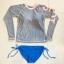 SM-V1-635 ชุดว่ายน้ำแขนยาว เสื้อสีเทา บิกินี่น้ำเงินสดสายผูกข้าง thumbnail 2