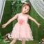 GD037 ชุดเดรสเดรสสีโอรส กระโปรงบาน มีดอกไม้ที่เอว ชุดออกงานเด็กหญิง thumbnail 1