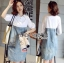 Lady Coco Cotton White Shirt with Denim Skirt Dress L202-69B10 thumbnail 14