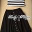 Muico Mickey Mouse Screening Striped Top and Flared Midi Skirt Set thumbnail 8