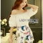 Lady Cathy Off-Shoulder Chiffon with Butterfly Printed Playsuit L260-7518 thumbnail 9