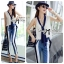 DS-PP-046 Lady Jaime Sleeveless Bow Top and Skinny Striped Pants Set thumbnail 1