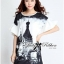 DR-LR-120 Lady Amy Indian Print Slouchy Dress in Black and White thumbnail 8