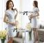 DR-LR-143 Lady Samantha Jewelled Neckline Lace Tube Dress with Belt thumbnail 5