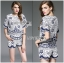 Lady Olivia Blue and White Flower Laser-Cut Cropped Top and Shorts Set L264-7904 thumbnail 7