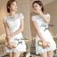 DR-LR-053 Lady Pure White Blossom Embroidery Gala Mini dress thumbnail 12