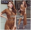 Lady Lyla Modern Minimal Chic Lacy Camel Jumpsuit L258-7905 thumbnail 3