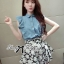 DS-PP-036 Lady Marry Ruffle Denim Shirt and Flowery Skirt Set thumbnail 3