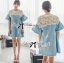 DR-LR-094 Lady Natalie Casual Slouchy Lace and Denim Dress thumbnail 3