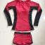 SM-V1-607 ชุดว่ายน้ำแขนยาว สีแดง-ดำ thumbnail 2