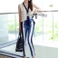DS-PP-046 Lady Jaime Sleeveless Bow Top and Skinny Striped Pants Set thumbnail 2