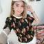 เสื้อลายดอกผ้าชีฟองอัดพิชเนื้องนิ่มเบาสบายๆ thumbnail 6
