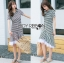 Lady Minimal Chic Striped Collared Peplum Dress L271-7503 thumbnail 4