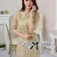 DR-LR-070 Lady Sarah Gorgeous and Elegant Brocade Lace Dress thumbnail 4