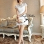 DR-LR-053 Lady Pure White Blossom Embroidery Gala Mini dress thumbnail 10