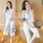 Lady Cara Holiday Casual White Lace Cropped Top and Culottes Set L253-75C22 thumbnail 1