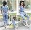 Lady Taylor Street Chic Fashionable Printed Soft Denim Set L262-7502 thumbnail 1