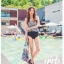 SM-V1-356 ชุดว่ายน้ำเอวสูง เสื้อทรง Tankini ลายขาวดำสวย thumbnail 14