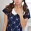 พร้อมส่ง เสื้อยืดแฟชั่น พิมพ์ลายแมวkitty สีน้ำเงิน thumbnail 2