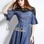 Lady Stella Smart Casual Black Lace and Denim Dress L255-79C12 thumbnail 8