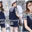 Lady Charlotte Striped Top with Ripped Tank Top and Shorts Set L263-8511 thumbnail 3