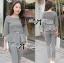 Lady Chloe Houndstooth Peplum Top and Skinny Pants Set L148-85E11 thumbnail 3