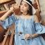 Lady Victoria Casual Chic Off-Shoulder Soft Denim Dress L264-6922 thumbnail 8