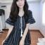Dress ลายริ้วแขนบาน แต่งพู่่ด้านหน้า ผ้าเนื้อดีค่ะ เนื้อนิ่ม เป็น dress คอวี thumbnail 5