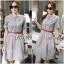 Lady Sara Minimal Asymmetric Grey Dress with Red Belt L250-69C09 thumbnail 1