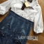 Lady Coco Cotton White Shirt with Denim Skirt Dress L202-69B10 thumbnail 18