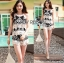 Lady Helena Black and White Lace Cropped Top and Shorts L271-6910 thumbnail 10