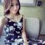 เดรสเจ้าหญิง ลายดอกไม้สีเทาดำ thumbnail 5