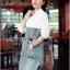 Lady Coco Cotton White Shirt with Denim Skirt Dress L202-69B10 thumbnail 6