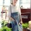 Lady Coco Cotton White Shirt with Denim Skirt Dress L202-69B10 thumbnail 4