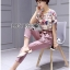 Lady Jennifer Floral Printed Top and Pink Ribbon Pants Set L260-7906 thumbnail 2