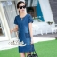 Korean lady love denim jeans short sleeve dress by Aris Code A181-75C01 thumbnail 3