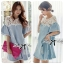 DR-LR-094 Lady Natalie Casual Slouchy Lace and Denim Dress thumbnail 1