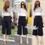 Korean lace print two-piece leg trousers by Aris Code thumbnail 3