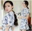 DR-LR-277 Lady Sweet Pearl Collar Blue Floral Blooming Chinoise Dress thumbnail 8