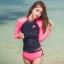 SM-V1-578 ชุดว่ายน้ำแขนยาว กางเกงขาสั้นสีชมพูบานเย็นสวย ๆ thumbnail 1