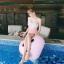 SM-V1-638 ชุดว่ายน้ำเอวสูง บราเกาะอกแต่งช่อลูกไม้สวยๆ กางเกงสีชมพู thumbnail 9